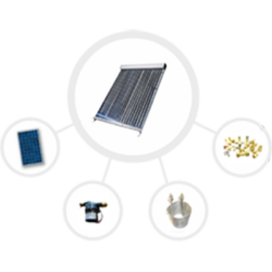 components of a solar hot tub kit including solar collector, solar panel, pump, heat exchanger, and various plumbing fittings and gauges