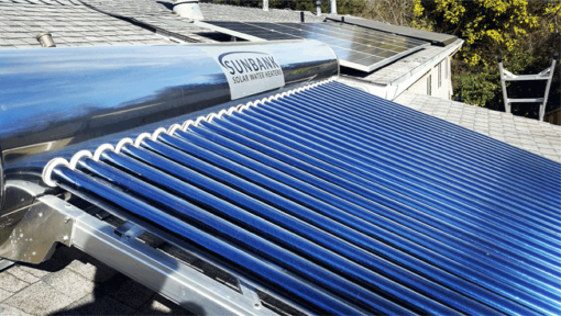 solar panels and solar water heater on roof